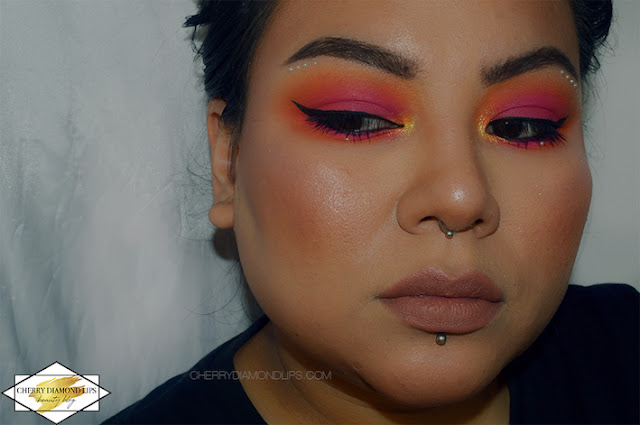 Neon smokey eyes using Vivid palette Outrageous Orange by W7, pink and orange neon makeup, sunset neon makeup, w7 vivid neon review