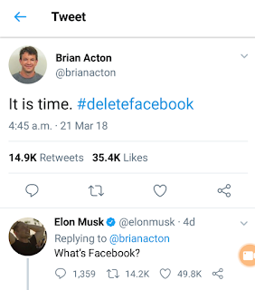 Brian Action wrote, with the hashtag deletefacebook