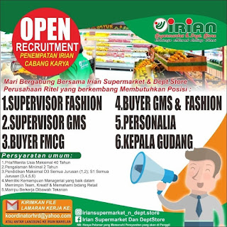 16 Posisi di Irian Supermarket and Depatement Store