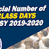 Official CLASS DAYS for SY 2019-2020