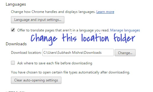changing download location from advanced chrome setting