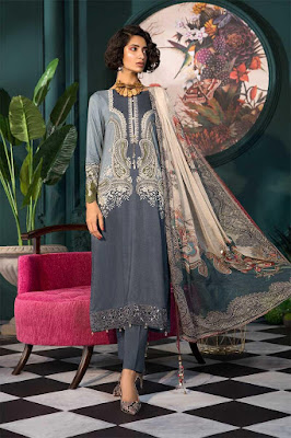 maria B Unstitched winter grey color dress with printed