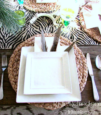 Winter Tablescape with Holiday Greens, Antlers and Animal Print