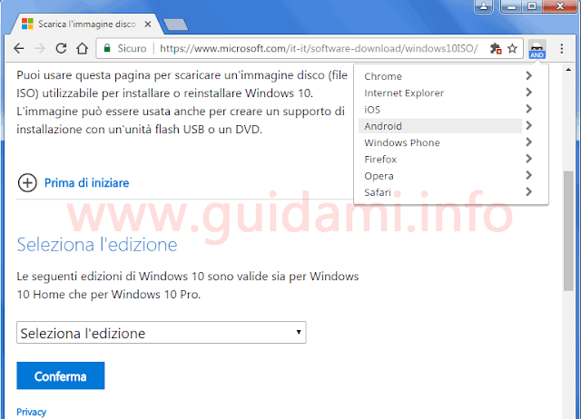 Chrome forzare download ISO Windows 10 da sito Microsoft con estensione user agent