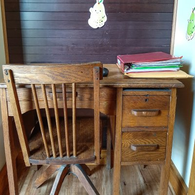 Small distance/virtual learning space in a coat nook | On The Creek Blog