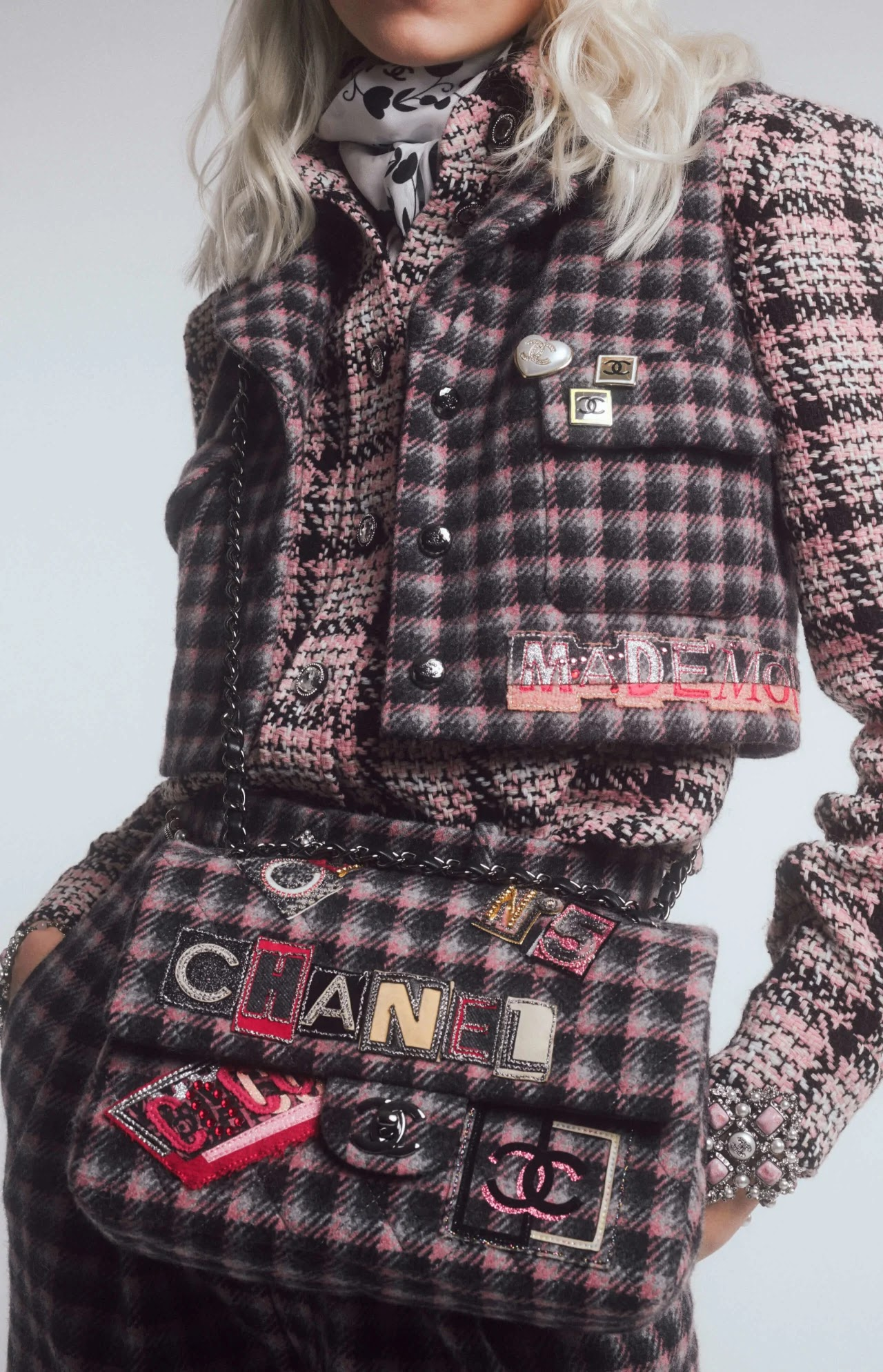 Chanel embroidered tweed flap bag