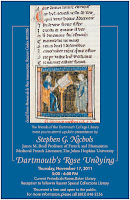 "A blue poster for the ""Dartmouth's Rose Undying"" lecture, featuring an image from the manuscript."