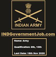 2 Soldier Tradesman Vacancies In Indian Army - Last Date: 16th Nov 2020
