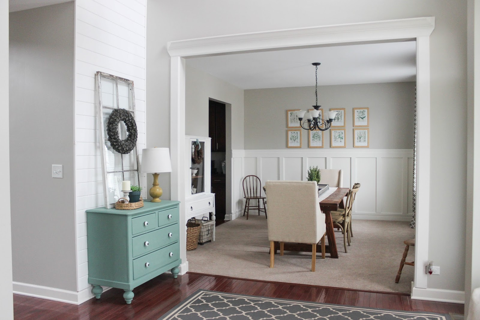 Delightfully Farmhouse Flavored Home Tour - Farmhouse Dining Room Trim Shiplap Board and Batten