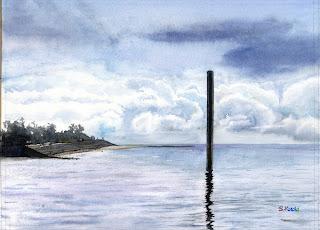 水彩画「穏やかな朝」久米島の海