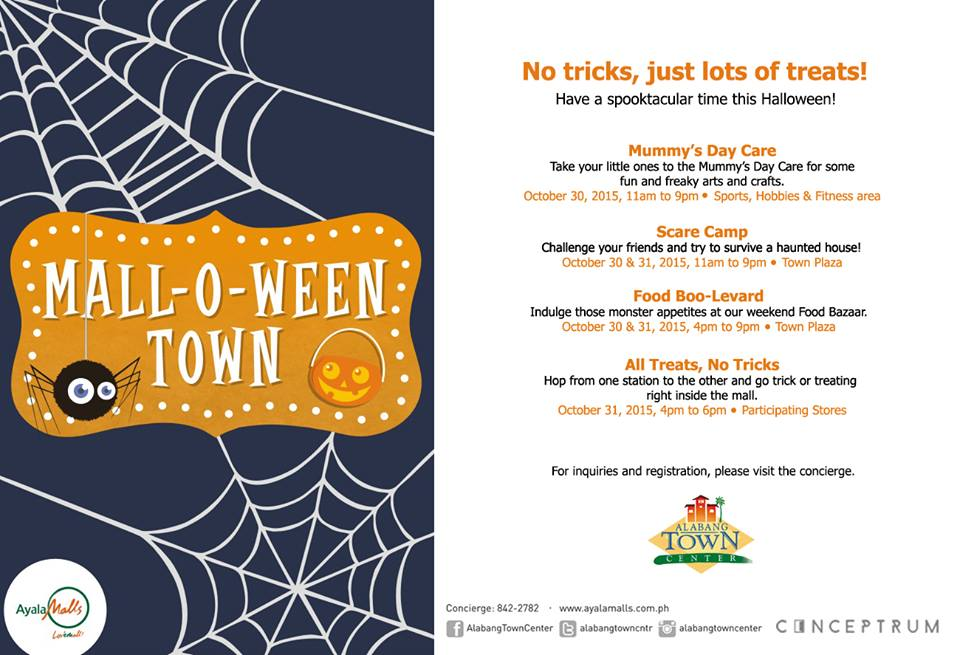 Manila shopper 2015 trick or treat events halloween parties in glorietta and alabang town center take you to mall o ween town with lots of treats and fun activities on october 30 31 stopboris Image collections