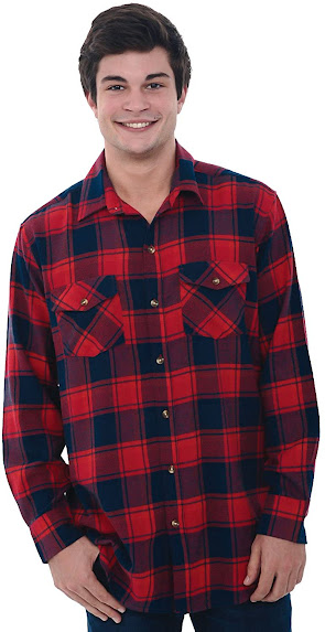 Red Men's Plaid Flannel Shirts