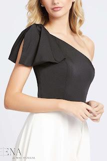 One Shoulder Black/white Dress Front Design