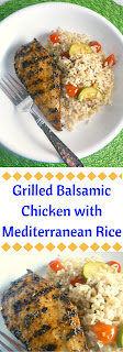Grilled Balsamic Chicken with Mediterranean Rice:  Grilled chicken smothered in the complex flavors of balsamic vinegar, Dijon, and lemon turn this into a company worthy meal, but simple enough for a family weeknight meal. - Slice of Southern