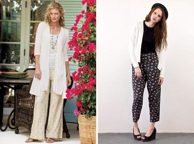 Пижамные брюки с белым кардиганом
