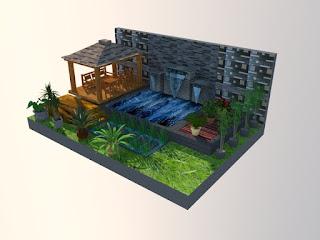 taman dengan kolam dan gazebo