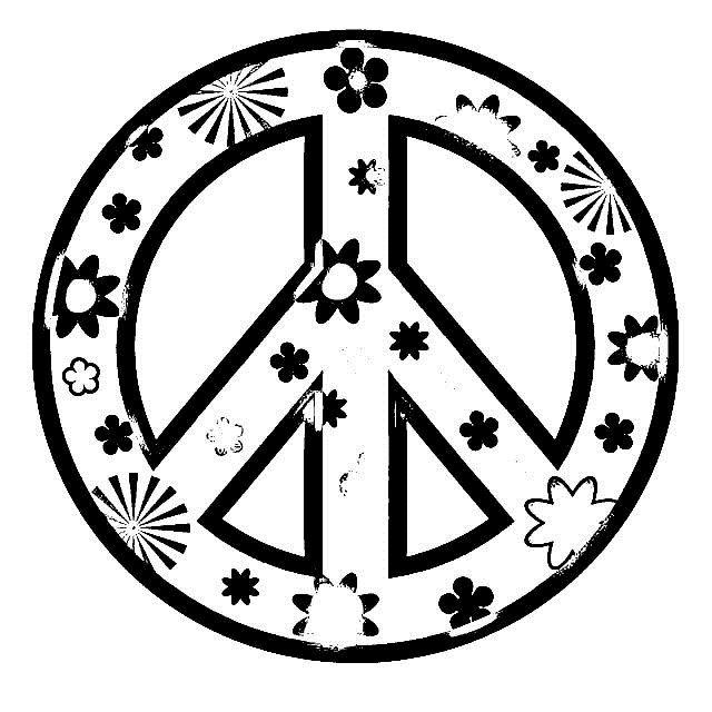 Dessins et coloriages page de coloriage grand format imprimer le symbole de la paix peace - Dessin peace and love ...