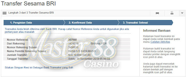 Bukti Transfer MasterCasino88 Rp 10.000.000