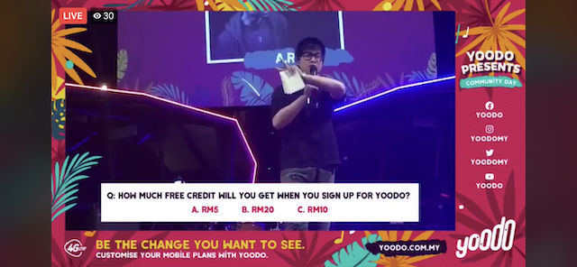 The whole concert was streamed on Yoodo's Facebook Live, complete with contests