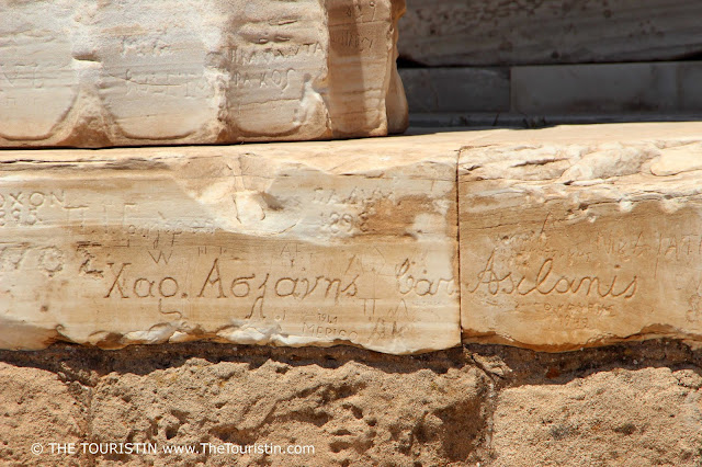 Inscriptions at the Temple of Poseidon in Sounion near Athens in Greece