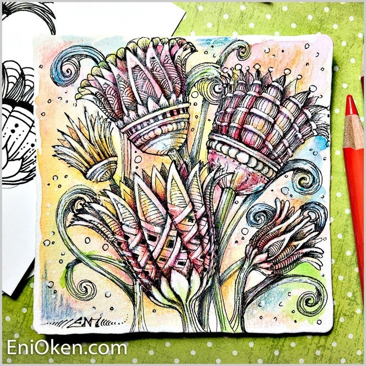13-Egyptian-Lotus-Eni-Oken-Color-and-Black-and-White-Zentangle-Drawings-www-designstack-co