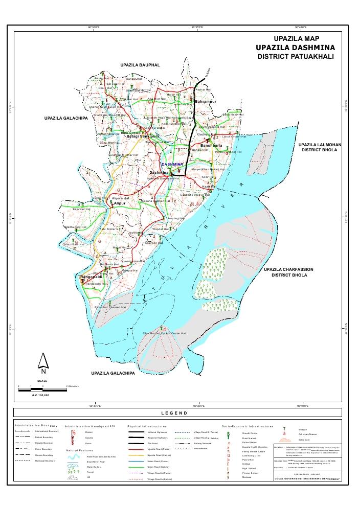 Dashmina Upazila Map Patuakhali  District Bangladesh
