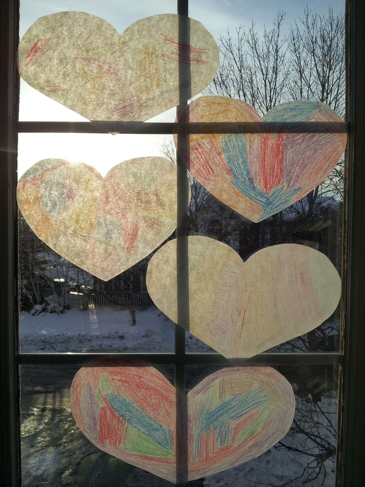 Stained Glass Paper Hearts, Valentine's Day, Valentine's crafts, crafts, kids crafts