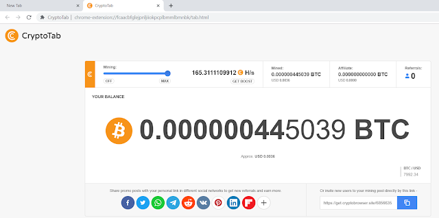 Tampilan Browser Miner Cryptotab saya