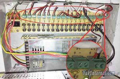 memasang kabel power supply cctv
