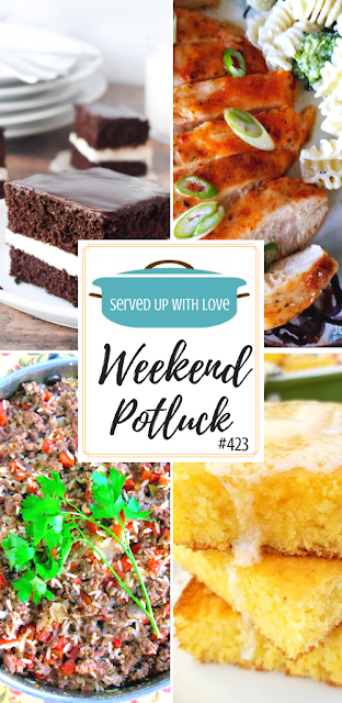 Weekend Potluck featured recipes include Ding Dong Cake, Spicy Ranch Packet Chicken, Rush Hour Supper, Spiffy Jiffy Cornbread, and so much more.