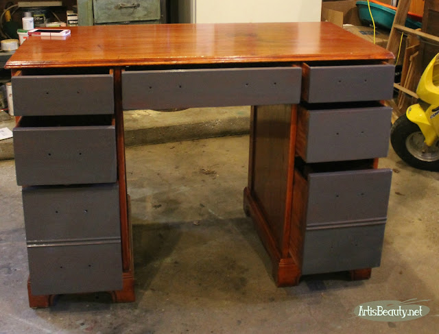 QUEENSTOWN GRAY GENERAL FINISHES EXECUTIVE DESK MAKEOVER BEFORE AND AFTER PAINTED AND STAINED DESK