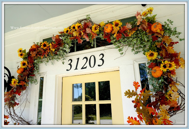 Farmhouse Cottage Style Fall Front Porch-Door Garland-From My Front Porch To Yours