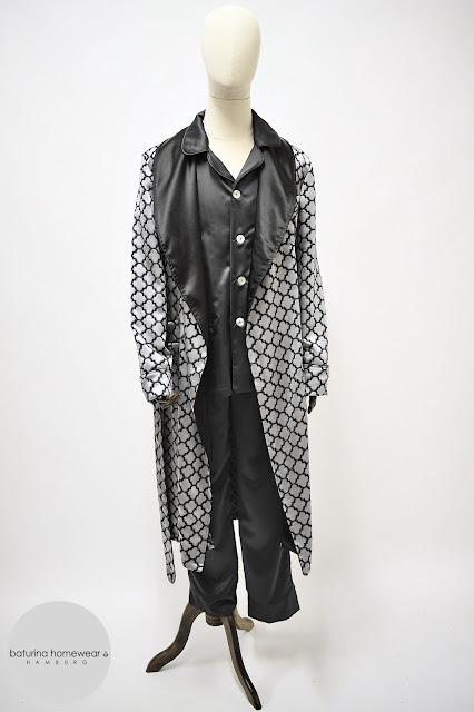luxus herren hausmantel seide schwarz eleganter morgenmantel lang edel exquisit britisch englisch dressing gown