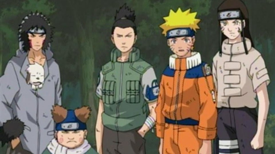 Kiba, Choji, Shikamaru, Naruto y Neji, rescate de Sasuke