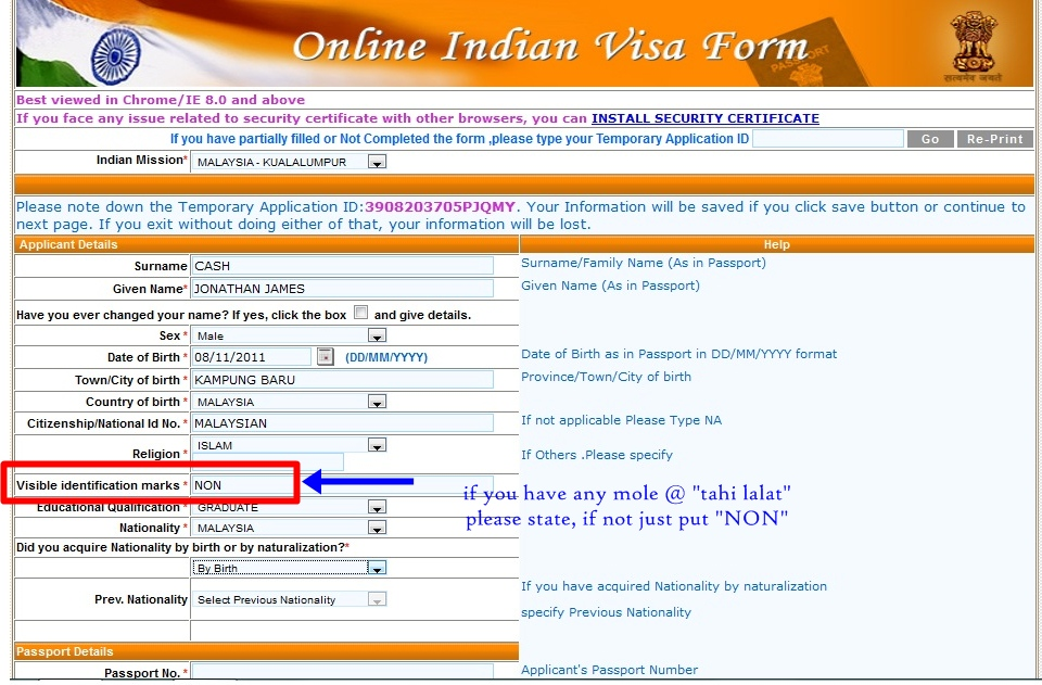 step1 Online Indian Visa Application Form For Desh on