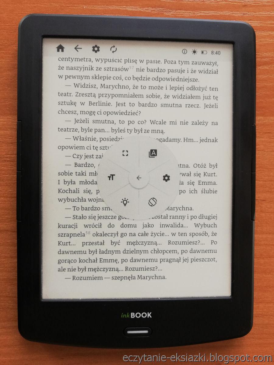 InkBOOK LUMOS – panel menu e-booka z ikoną prowadzącą do ustawień