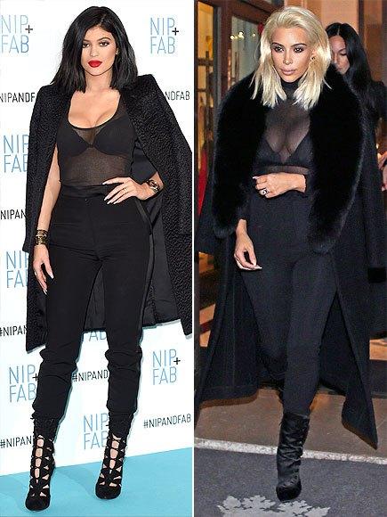 Kyllie Jenner e Kim Kardashian looks
