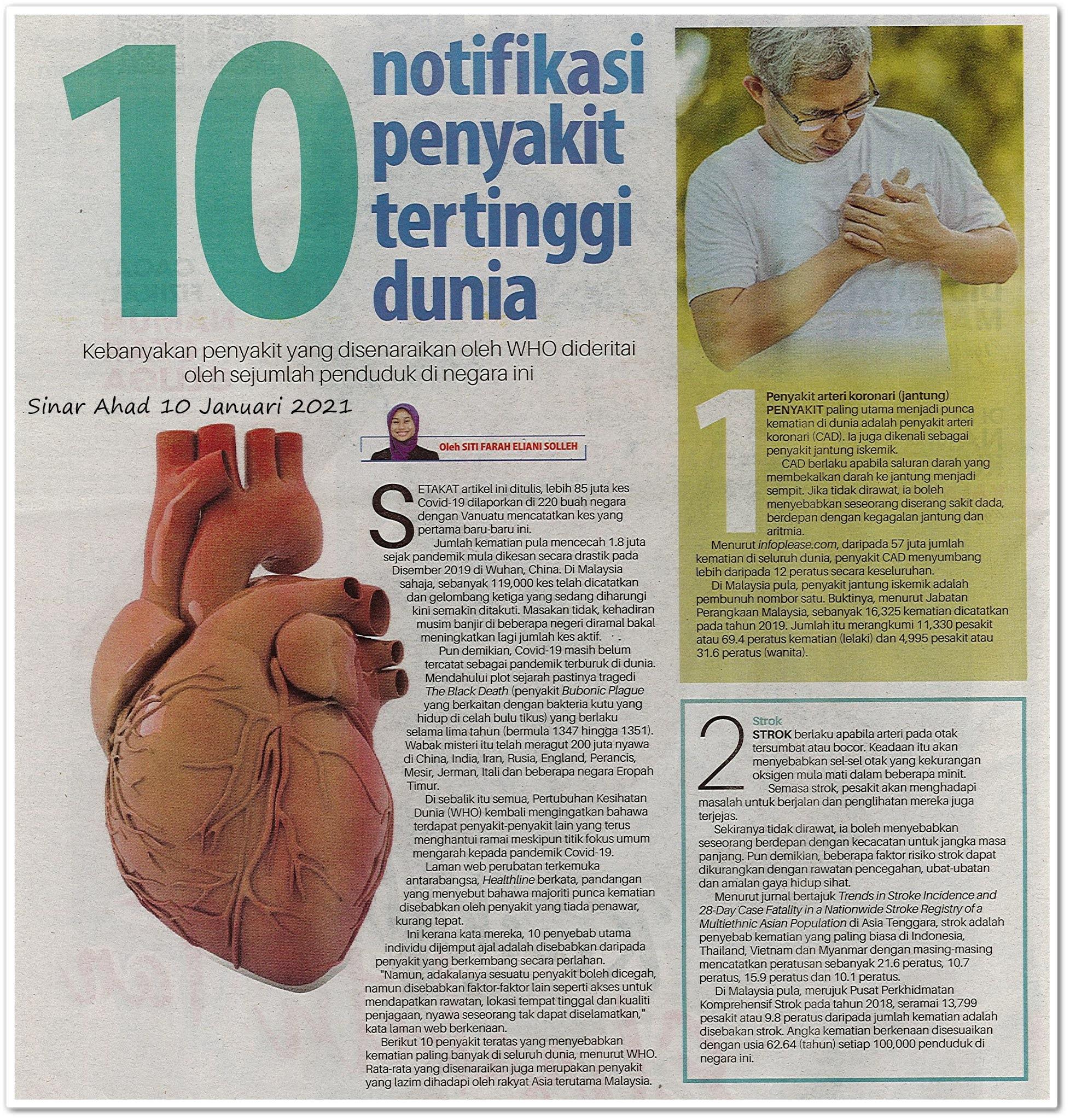 10 notifikasi penyakit tertinggi dunia - Keratan akhbar Sinar Ahad 10 Januari 2021