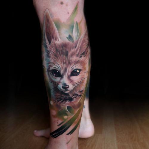 Cute Animal Tattoos on Leg