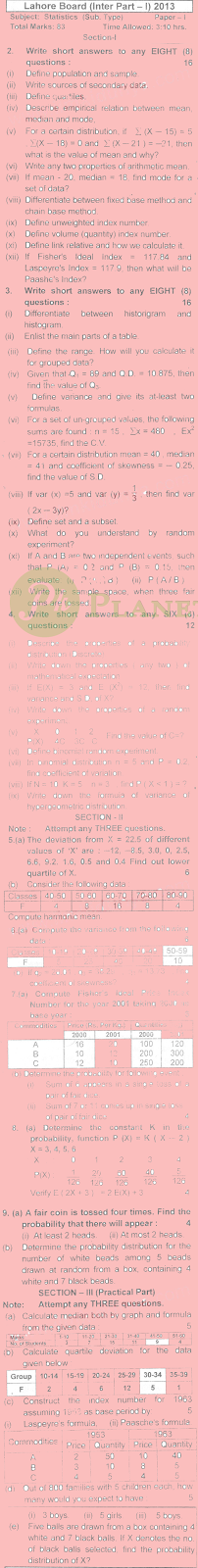 Past Papers of Statistics Inter part 1 Lahore Board 2013