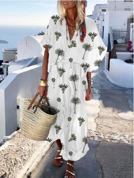 Vacation Printed Loose V Collar Maxi Dress– Price:$34.29
