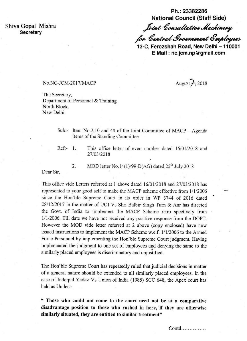 Implement the MACP Scheme from 2006: NCJCM letter to DoPT