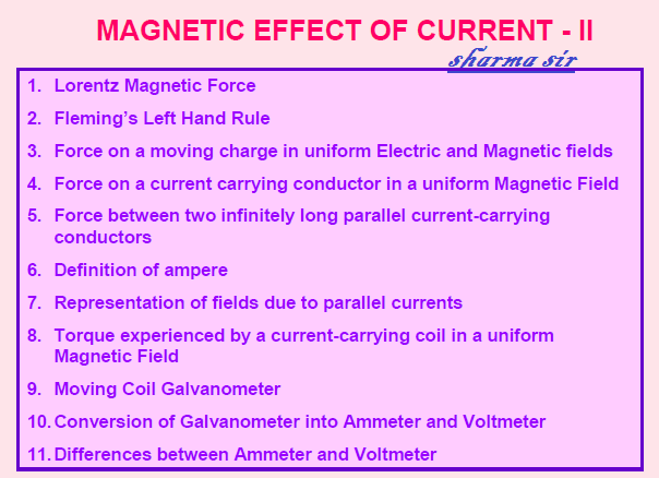 Lorentz magnetic force,ampere,moving coil galvanometer,conversion of galvanometer into ammeter and voltmeter,