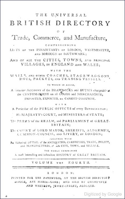 The Universal British Directory of Trade, Commerce, and Manufacture (Peter Barfoot & John Wilkes, 1796)