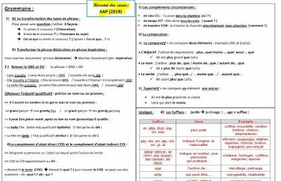 تلخيص دروس اللغة الفرنسية المستوى السادس المنهاج الجديد