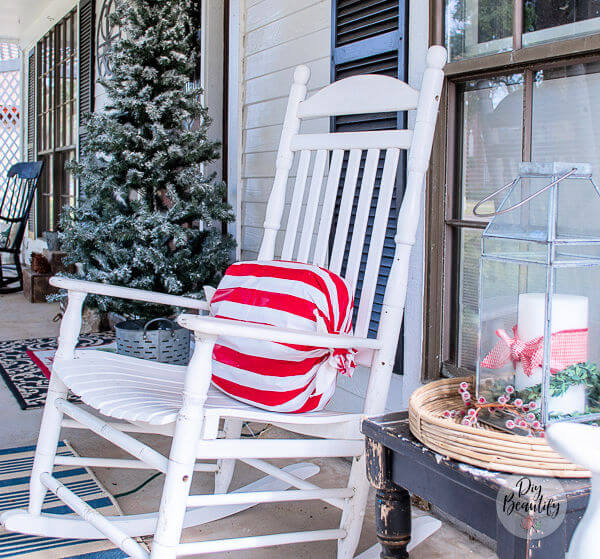 front porch with peppermint candy wrapped pillows