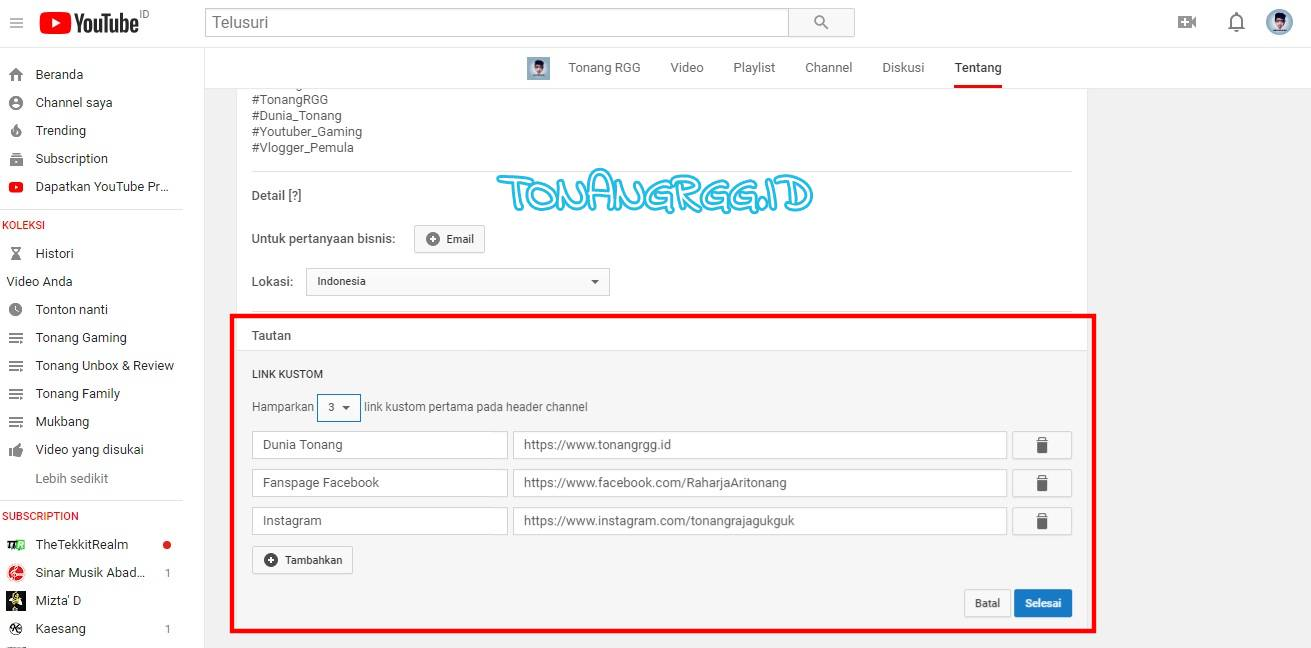 Dunia Tonang, Cara Membuat Link Blog, Facebook, Instagram, dan Sosial Media di Header Youtube, TonangRGG, Tonang RGG