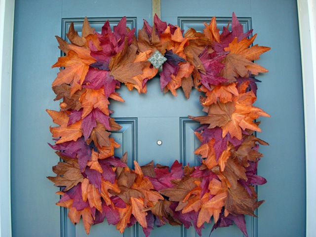 dollar store leaves fall wreath