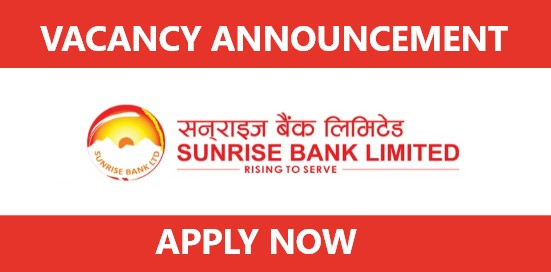 Vacancy Announcement from Sunrise Bank