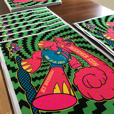 Official Designer Con 2017 Flocked Black Light Screen Print by Joe Ledbetter
